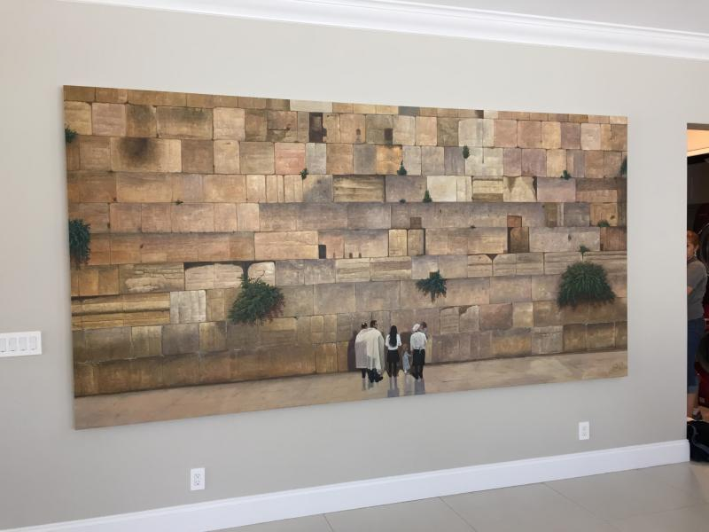Custom 12 Foot Long Custom Jerusalem Kotel Or Western Wall Art With Clients  Family Built Into The Painting